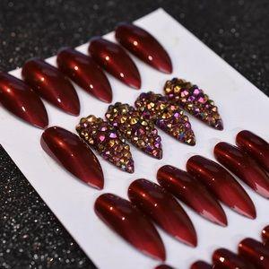 NWT red rhinestone nails